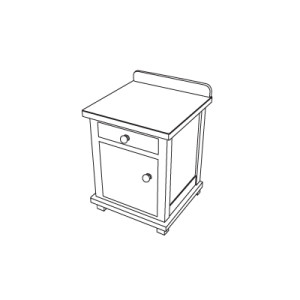 Beside table with drawer, door and legs