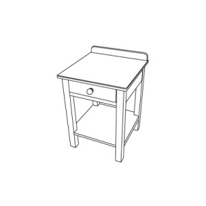 Beside table with drawer and legs