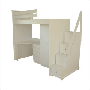 bunk bed unit with stairs and safety rail